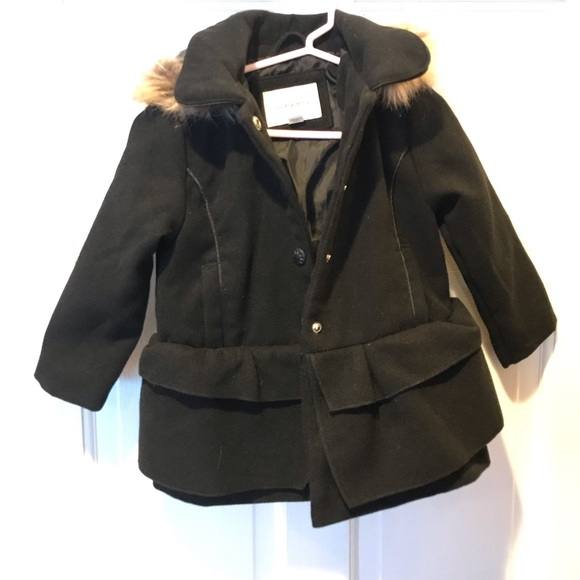 great look latest sale top-rated newest Sebby Toddler Peacoat - 3t- black w/faux fur hood